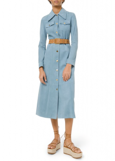 Michael Kors Collection Blue Suede Trench Coat Dress