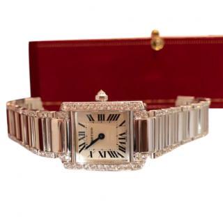 Cartier White Gold Diamond Set Small Tank Francaise Watch