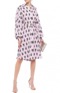 Emilia Wickstead Clarisse Belted Floral Crepe Dress