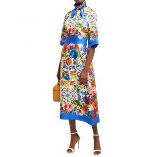 Dolce & Gabbana Satin Majolica Print Midi Dress with Neck Tie