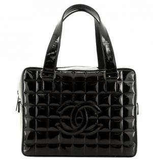 Chanel Chocolate Bar Medium Patent Bowling Bag