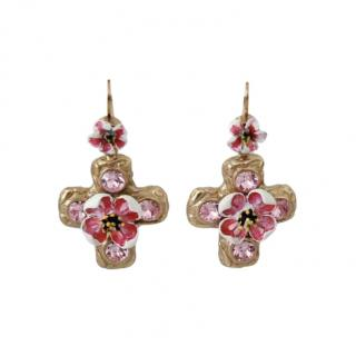 Dolce & Gabbana Gold Tone Floral Cross Earrings