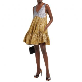 No.21 Gold & Silver Silk Blend Floral Brocade Ruffled Dress