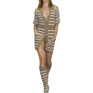 Chanel Beige Striped Cashmere Cardigan Dress