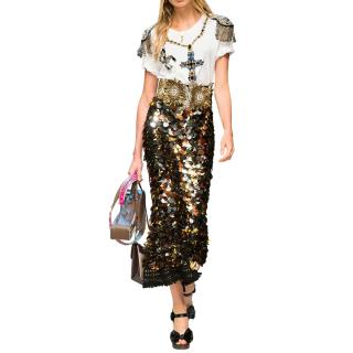 Dolce & Gabbana gold mettalic sequinned midi skirt