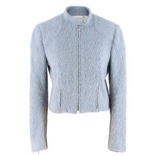 Christian Dior Blue Wool-blend Textured Jacket