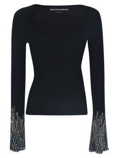 Ermanno Scervino Black Crystal Embellished Top
