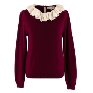 Merchant Archive Burgundy Merino Wool Ruffled Collar Knit Top