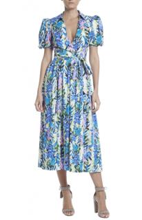 Badgley Mischka Stripe Floral Puffy Sleeve Dress
