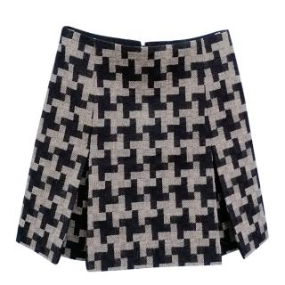 Carven Houndstooth Wool Blend Pleated Mini Skirt