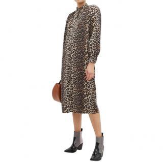 Ganni Leopard-print denim dress