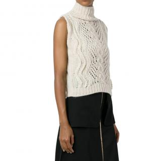 Ermanno Scervino Beige Cable Knit Roll Neck Sleeveless Top