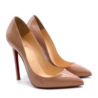 Christian Louboutin Nude Patent Leather Pigalle 120 Pumps