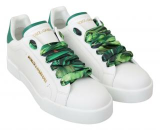 Dolce & Gabbana White Sneakers with Banana Leaf Print Laces