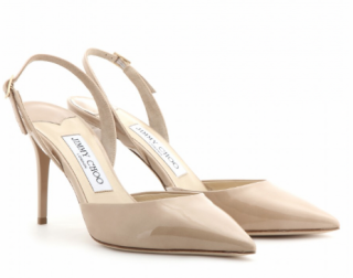 Jimmy Choo Nude Patent Leather Slingback Sandals