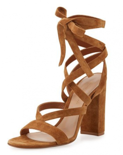 Gianvito Rossi Suede Lace-Up Tan Sandals