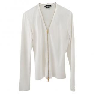 Tom Ford White Zip-Front Long Sleeve Top