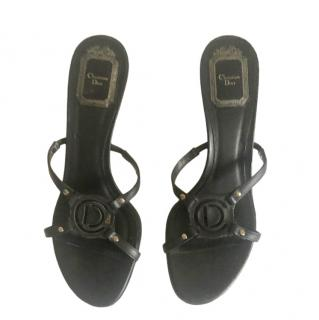 Dior Black Leather Logo Mules