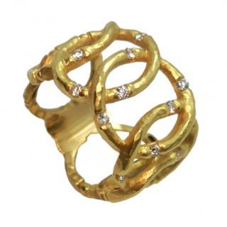 Bespoke 18ct Yellow Gold Bamboo Link Ring