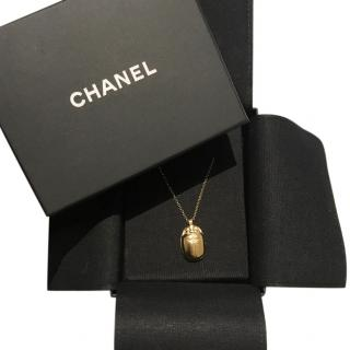 Chanel �3600 2019 gold Goossens Scarab Beetle Locket Necklace