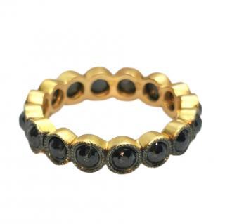 Bespoke 16 black diamonds eternity ring set in 22k yellow gold
