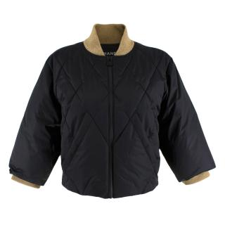 Chanel Black & Gold Nylon Quilted Down Cropped Jacket