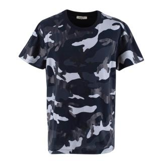 Valentino Blue Camo Print Cotton T-shirt