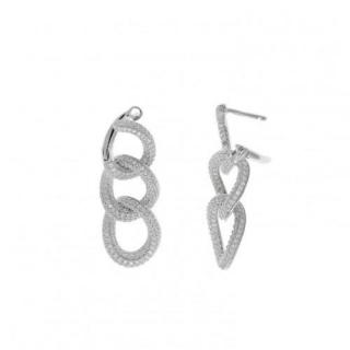 Salvatore Plata Rhodium Plated Crystal Link Earrings