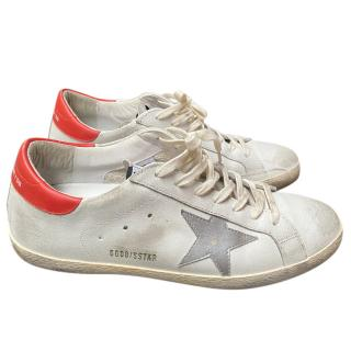 Golden Goose Deluxe Brand White & Red Sneakers