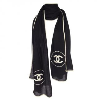 Chanel Black & Ivory CC Embroidered Stole