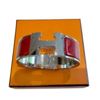 Hermes Red Enamel Clic Clac GM PHW