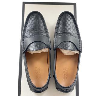 Gucci Black Microguccissima Men's Loafers