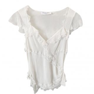 Dior Ivory Silk Ruffled Tiered Top