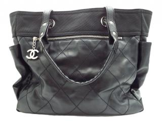 Chanel Black Nylon & Leather Square Tote Bag
