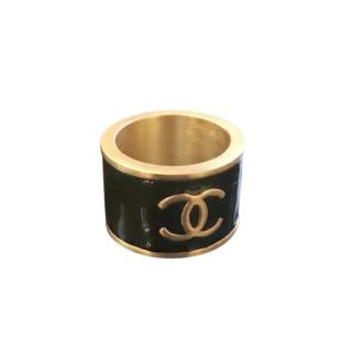 Chanel Vintage Gold Plated Thick Band Logo Ring