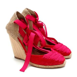 Aquazzura Red & Pink Wedge Lace-Up Espadrilles