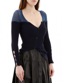 Jacquemus Blue Two-Tone Ribbed Asymmetric Cardigan