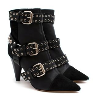 Isabel Marant Black Leather & Suede Rolling Buckle Ankle Boots