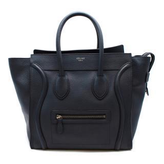 Celine Blue Grained Leather Mini Luggage Bag