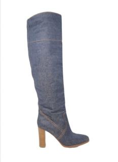 Hermes Denim Linen Tall Drill Boots