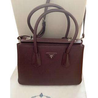 Prada Turnlock Twin Saffiano Leather Satchel
