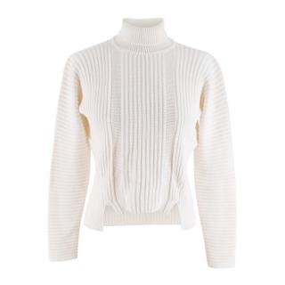 Miu Miu Ivory Wool Blend Ribbed High Neck Knit Sweater