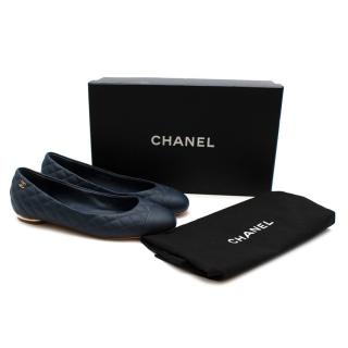 Chanel Blue Leather Quilted CC Ballerina Flats