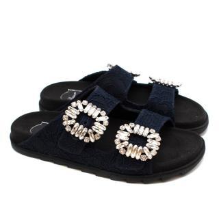 Roger Vivier Navy Lace 'Slidy Viv' sandals.
