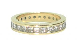 Bespoke princess cut 2.08 carat diamond eternity ring