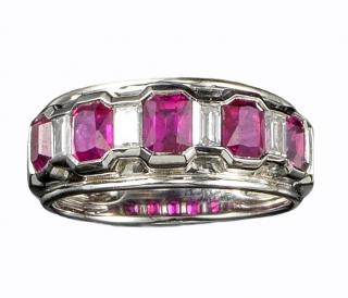 Bespoke five stone ruby and diamond engagement ring