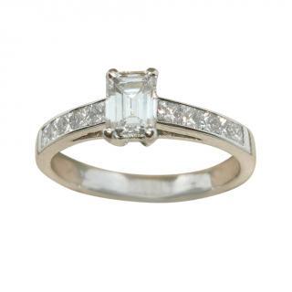 Bespoke emerald cut solitaire diamond ring
