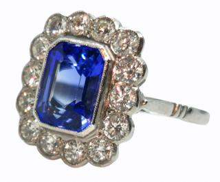 Bespoke 2.3ct tanzanite and diamond platinum ring