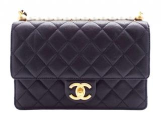 Chanel black quilted leather/ pearl detail cross body bag