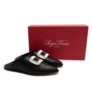 Roger Vivier Black Leather Embellished Mules